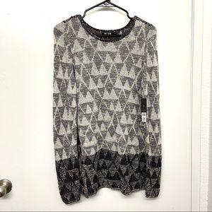 NWT Nic+Zoe Gray Triangle Knit Sweater Tunic S